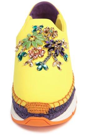 Текстильные кроссовки с декором Dolce & Gabbana желтые | Фото №4