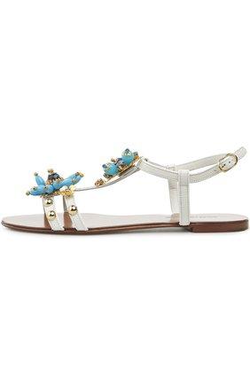 Кожаные сандалии с декором   Фото №1
