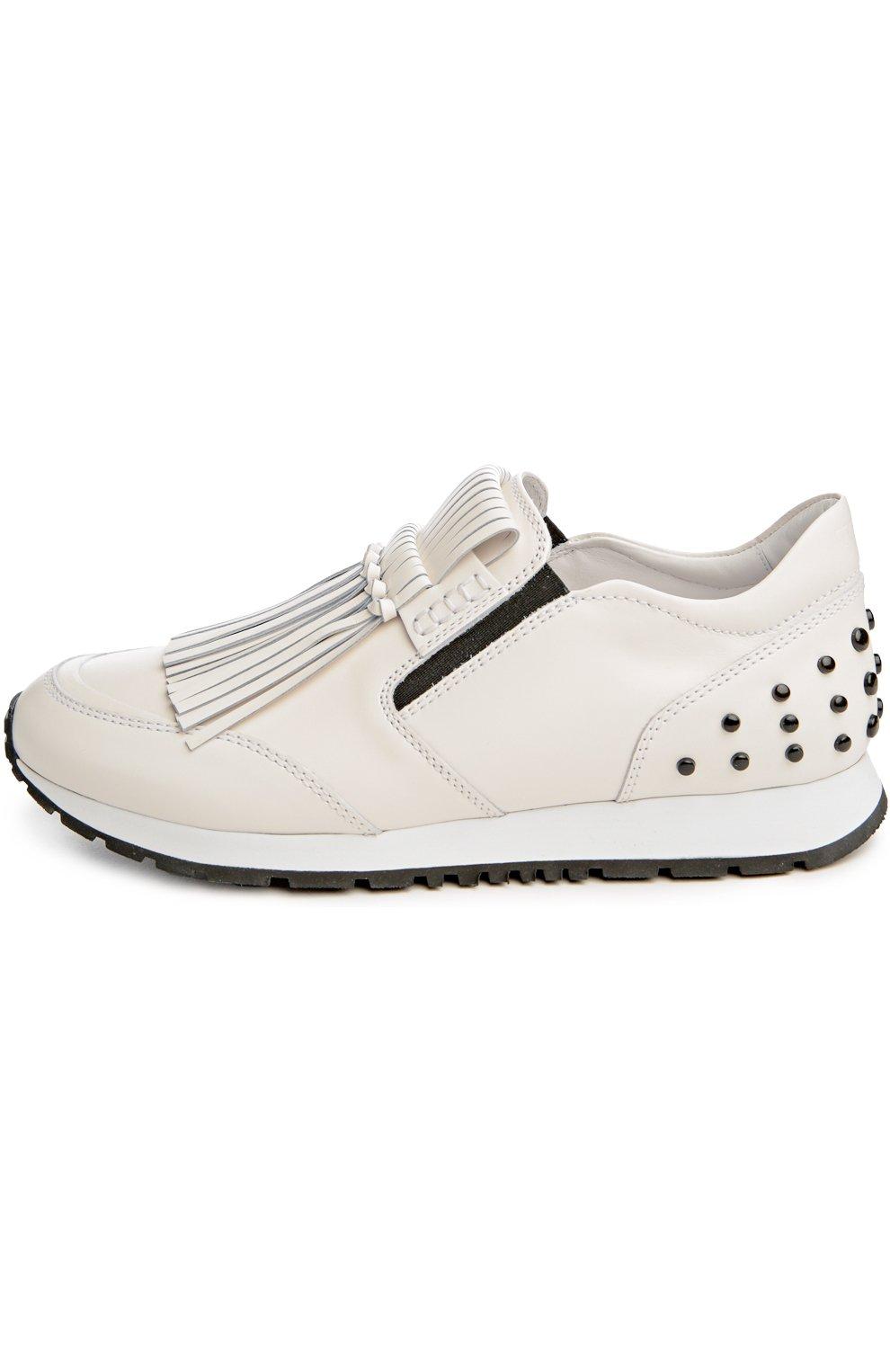 Кожаные кроссовки с бахромой | Фото №1