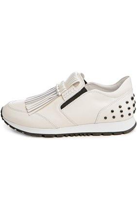 Кожаные кроссовки с бахромой Tod's белые | Фото №1