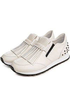 Кожаные кроссовки с бахромой Tod's белые | Фото №2
