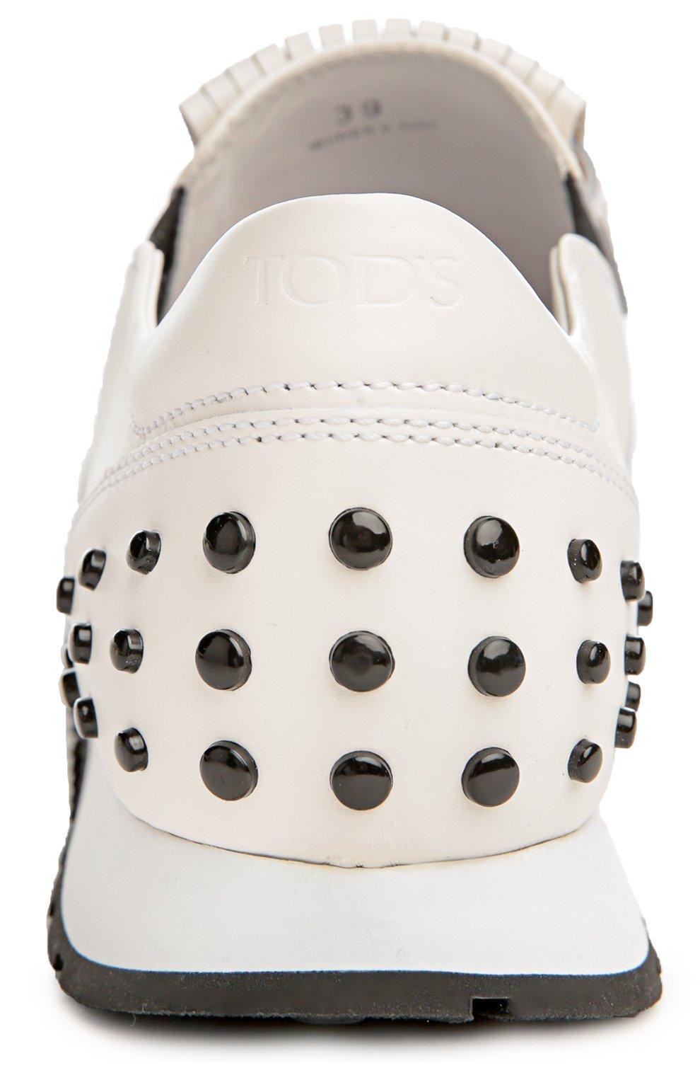 Кожаные кроссовки с бахромой Tod's белые | Фото №3