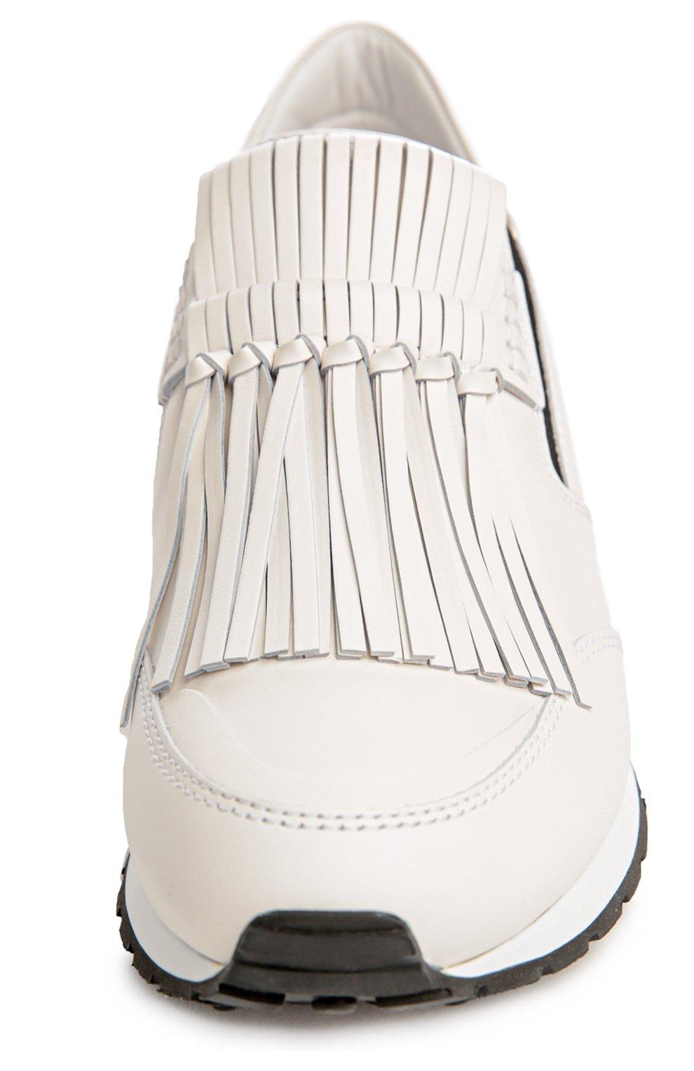 Кожаные кроссовки с бахромой Tod's белые | Фото №4