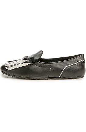 Туфли домашние Gomma с бахромой Tod's черно-белые | Фото №1