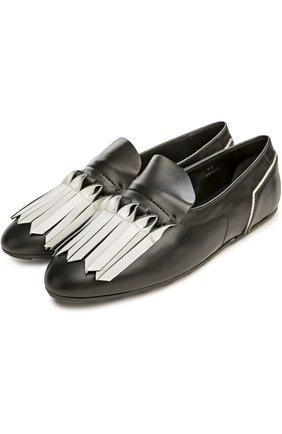 Туфли домашние Gomma с бахромой Tod's черно-белые | Фото №2