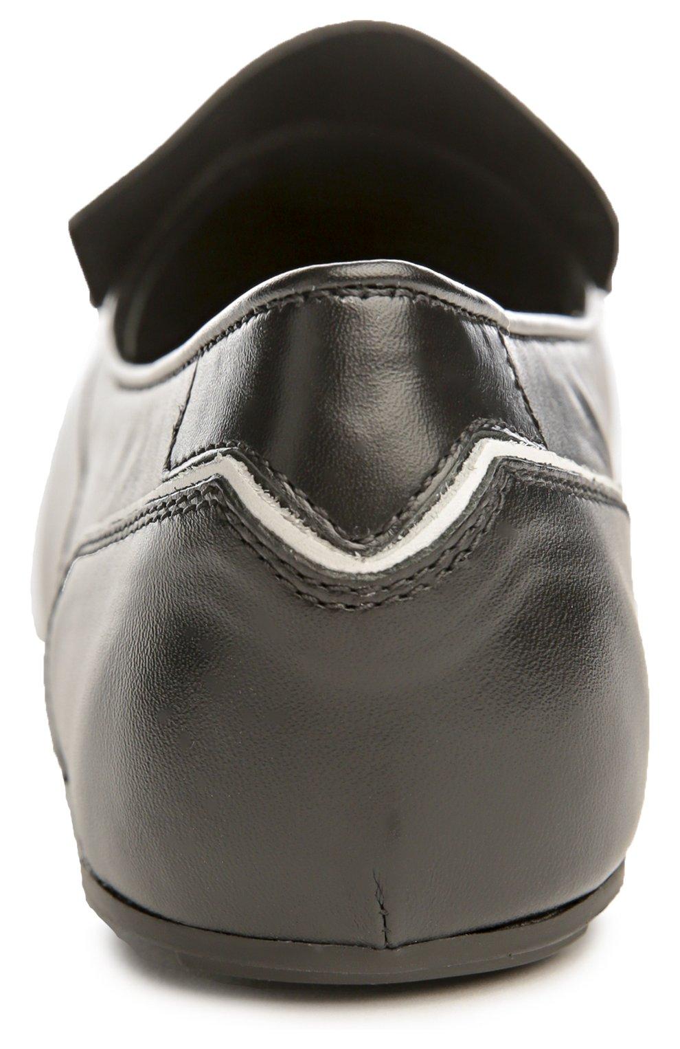 Туфли домашние Gomma с бахромой Tod's черно-белые | Фото №3