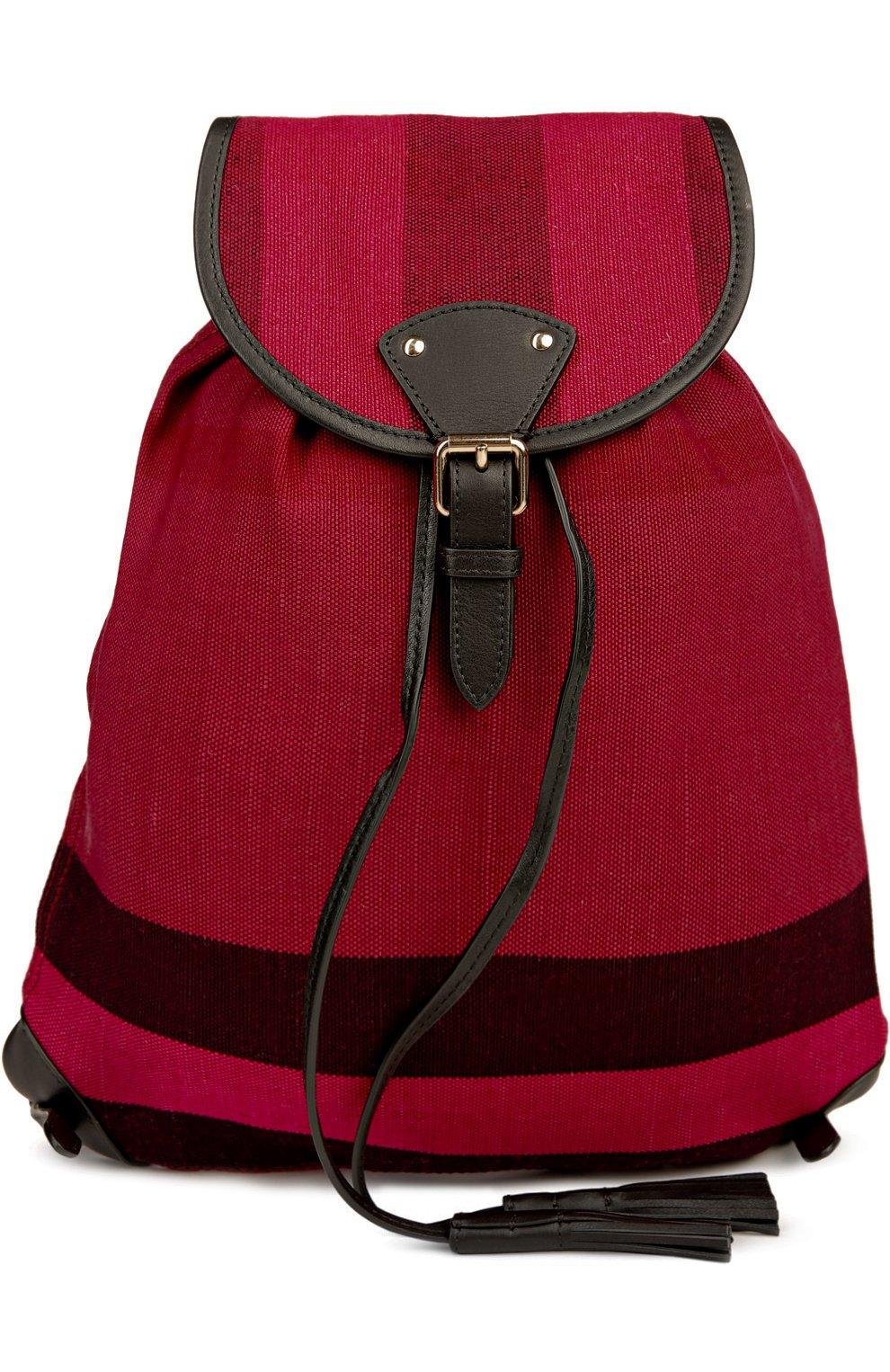 Рюкзак из текстиля в клетку с кожаной отделкой | Фото №1