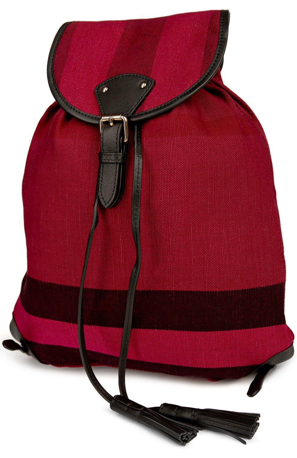 Рюкзак из текстиля в клетку с кожаной отделкой | Фото №3