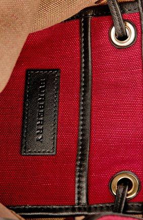 Рюкзак из текстиля в клетку с кожаной отделкой | Фото №5