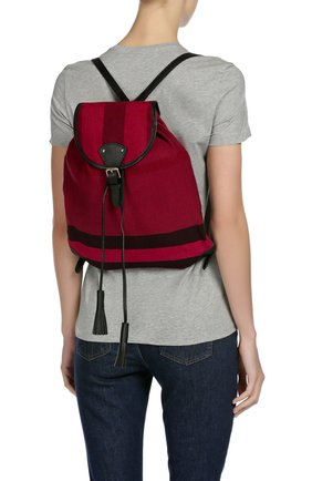 Рюкзак из текстиля в клетку с кожаной отделкой | Фото №7