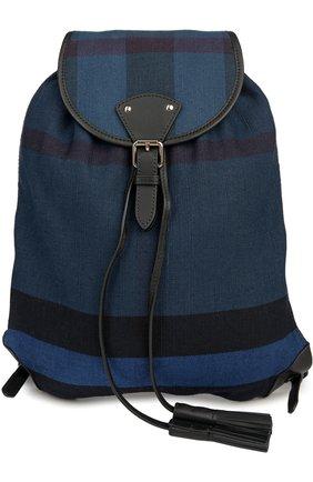 Рюкзак из текстиля в клетку с кожаной отделкой   Фото №1