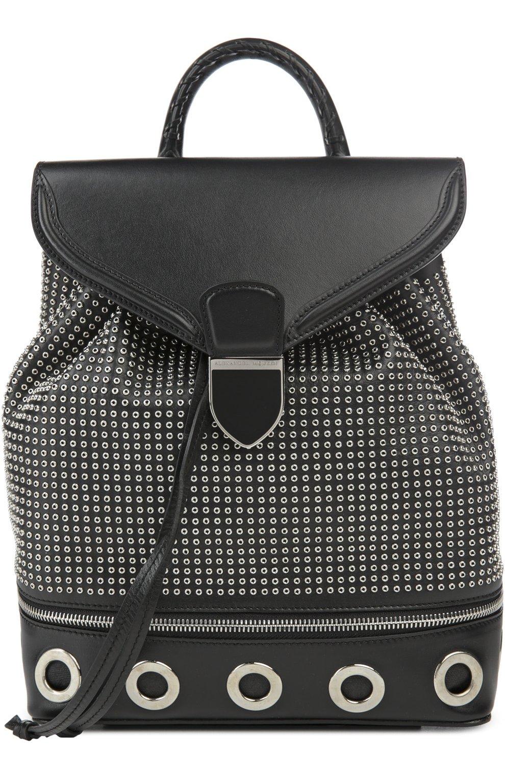 Кожаный рюкзак с металлическими заклепками | Фото №1