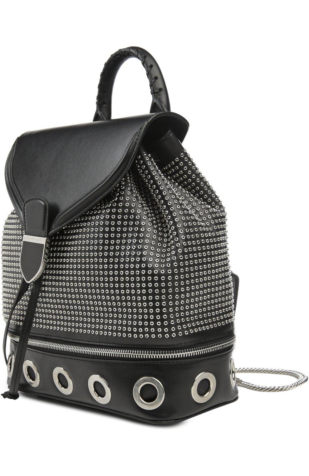 Кожаный рюкзак с металлическими заклепками | Фото №3