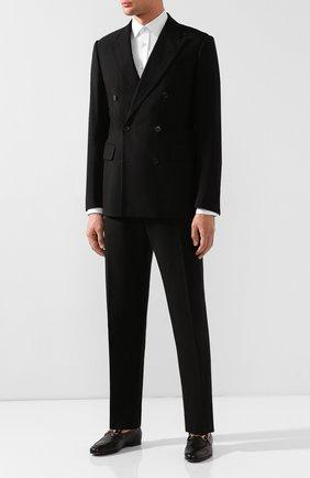 Мужские кожаные лоферы gucci jordaan GUCCI черного цвета, арт. 406994/BLM00 | Фото 2