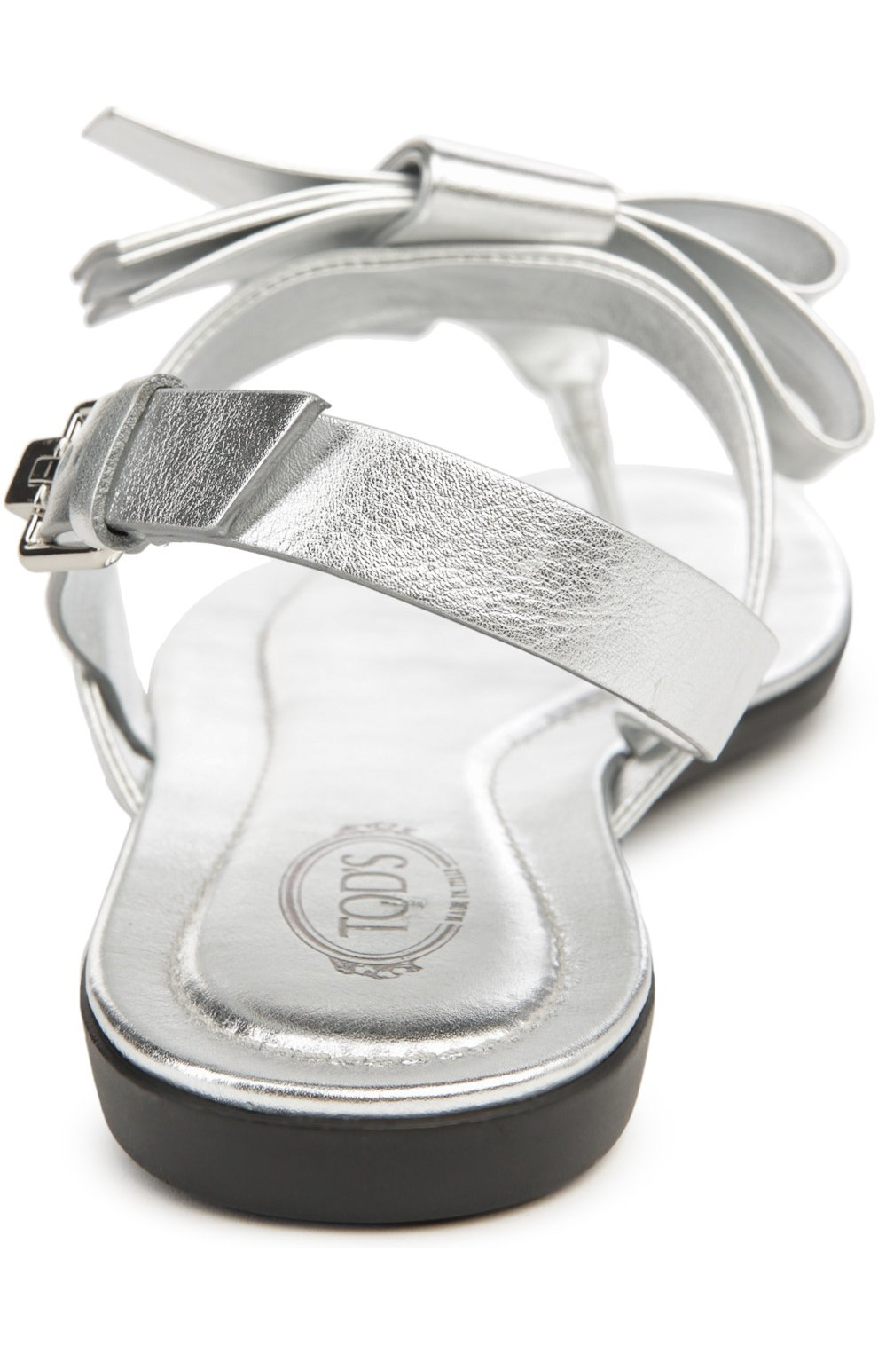Сандалии из металлизированной кожи с бантом Tod's серебряные | Фото №3