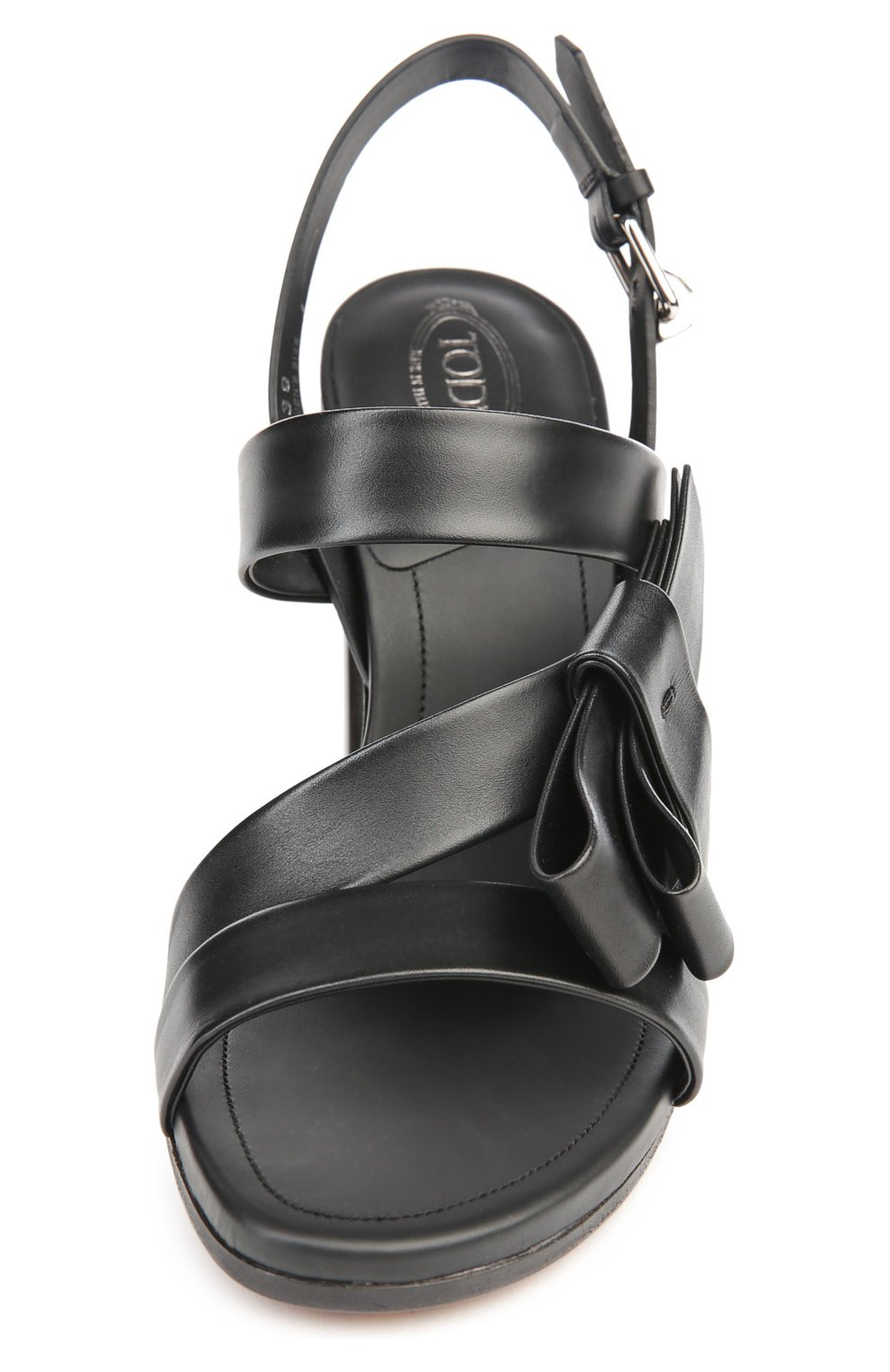 Кожаные босоножки на устойчивом каблуке | Фото №4