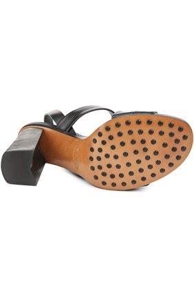 Кожаные босоножки на устойчивом каблуке | Фото №5