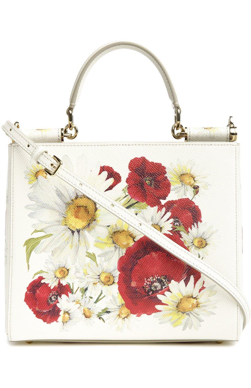Кожаная сумка Sicily с цветочным принтом   Фото №2
