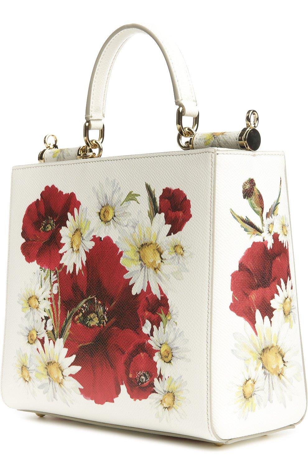 Кожаная сумка Sicily с цветочным принтом   Фото №3