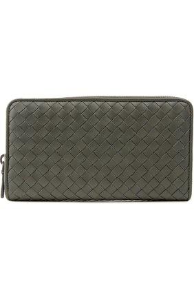 Кожаный кошелек на молнии с плетением intrecciato | Фото №1