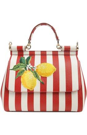 Полосатая кожаная сумка Sicily с вышивкой Dolce & Gabbana красная цвета | Фото №1