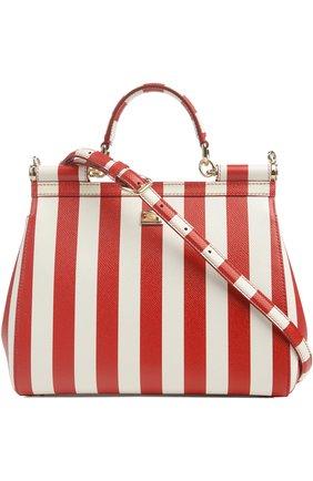 Полосатая кожаная сумка Sicily с вышивкой Dolce & Gabbana красная цвета | Фото №2