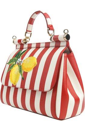 Полосатая кожаная сумка Sicily с вышивкой Dolce & Gabbana красная цвета | Фото №3