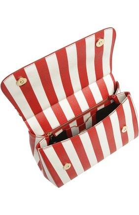 Полосатая кожаная сумка Sicily с вышивкой Dolce & Gabbana красная цвета | Фото №4