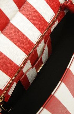 Полосатая кожаная сумка Sicily с вышивкой Dolce & Gabbana красная цвета | Фото №5