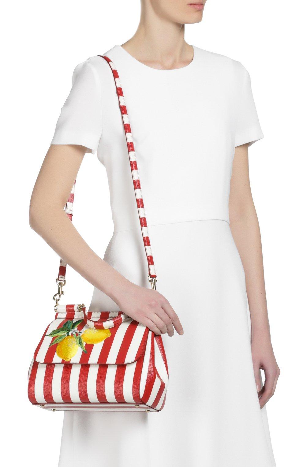 Полосатая кожаная сумка Sicily с вышивкой Dolce & Gabbana красная цвета | Фото №7