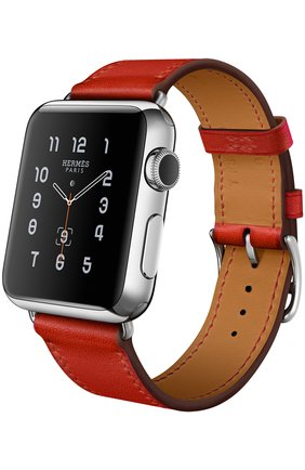 Apple Watch 38mm Stainless Steel Case Hermes Single Tour Leather Band   Фото №1