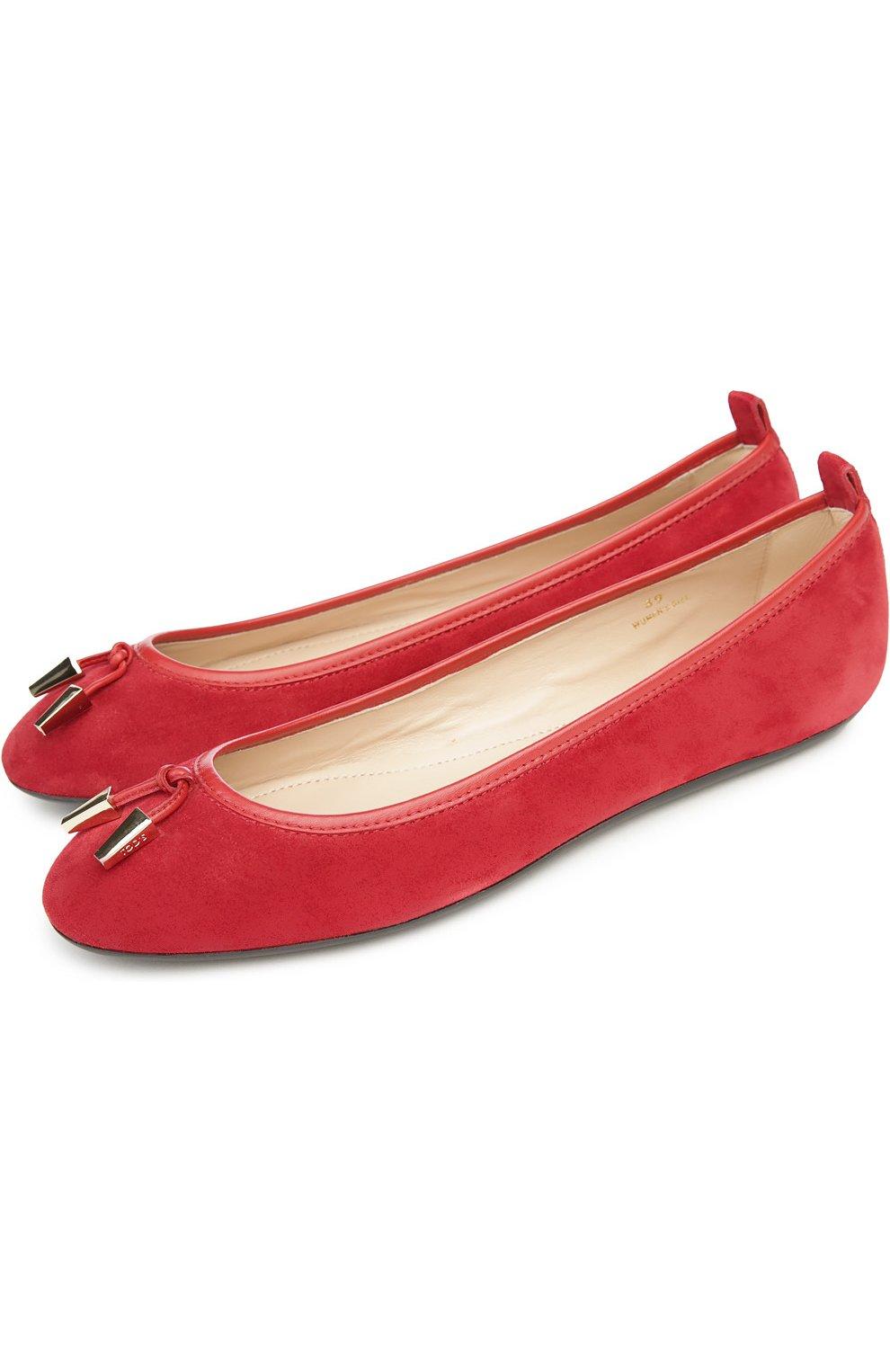 Замшевые балетки Ballerina с декором Tod's красные | Фото №2