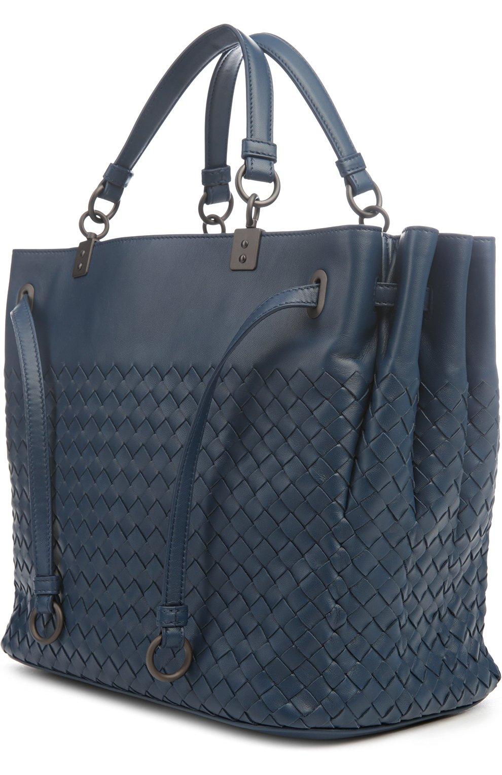 e33c16183889 Кожаная сумка с плетением intrecciato Bottega Veneta синяя цвета | Фото №3