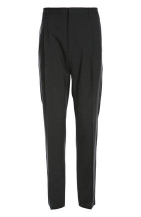 Шерстяные брюки прямого кроя и заниженной линией шага Lanvin Contemporary черные | Фото №1