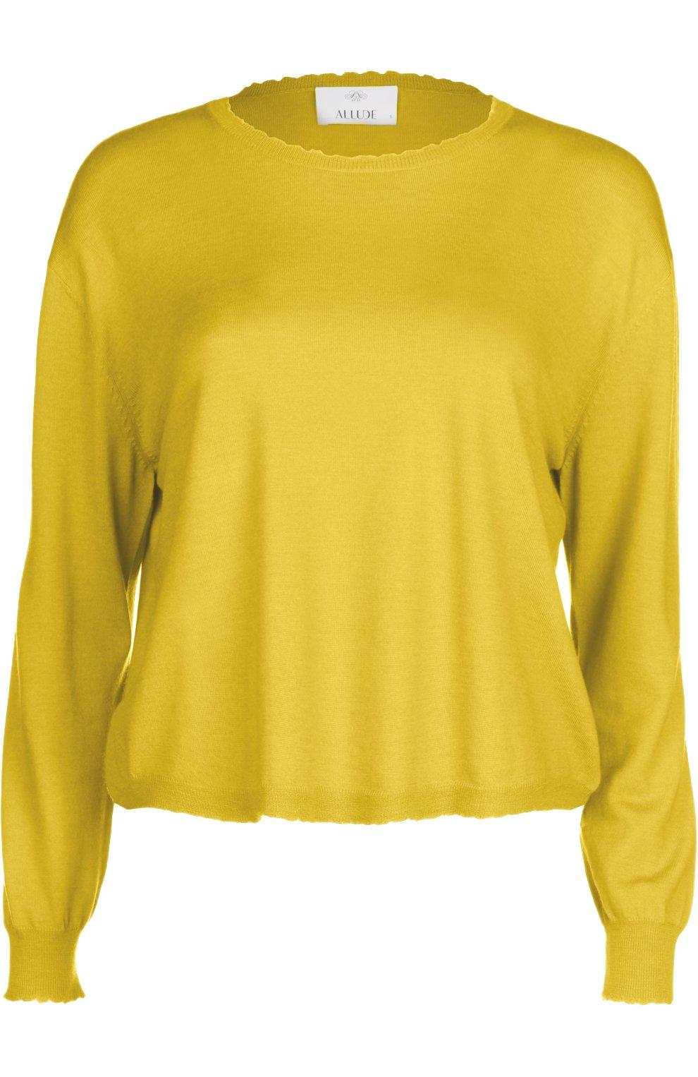 женский желтый свитер вязаный Allude купить за 15050 руб в