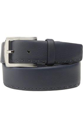 Мужской кожаный ремень с прострочкой KITON темно-синего цвета, арт. UFK3P/N924 | Фото 1