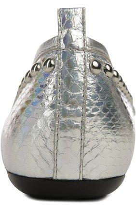 Балетки из металлизированной кожи с заклепками | Фото №3