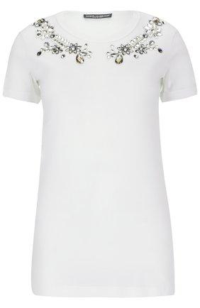 Хлопковая футболка с кристаллами Dolce & Gabbana белая | Фото №1