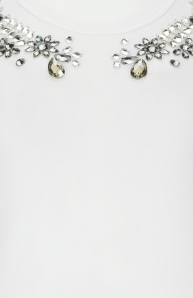 Хлопковая футболка с кристаллами Dolce & Gabbana белая | Фото №3