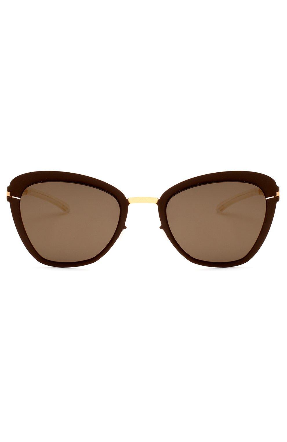 Женские солнцезащитные очки MYKITA темно-коричневого цвета, арт. J0SEPPA/G0LD/TERRA/BRILLIANTGREY | Фото 1