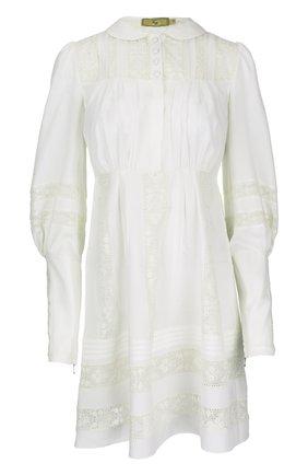 Приталенное платье с ажурными вставками и удлиненными рукавами Fay бежевое | Фото №1