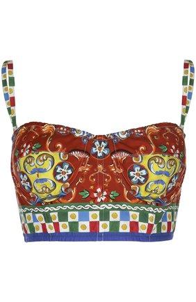 Топ-бюстье на бретельках и ярким принтом Dolce & Gabbana разноцветный | Фото №1