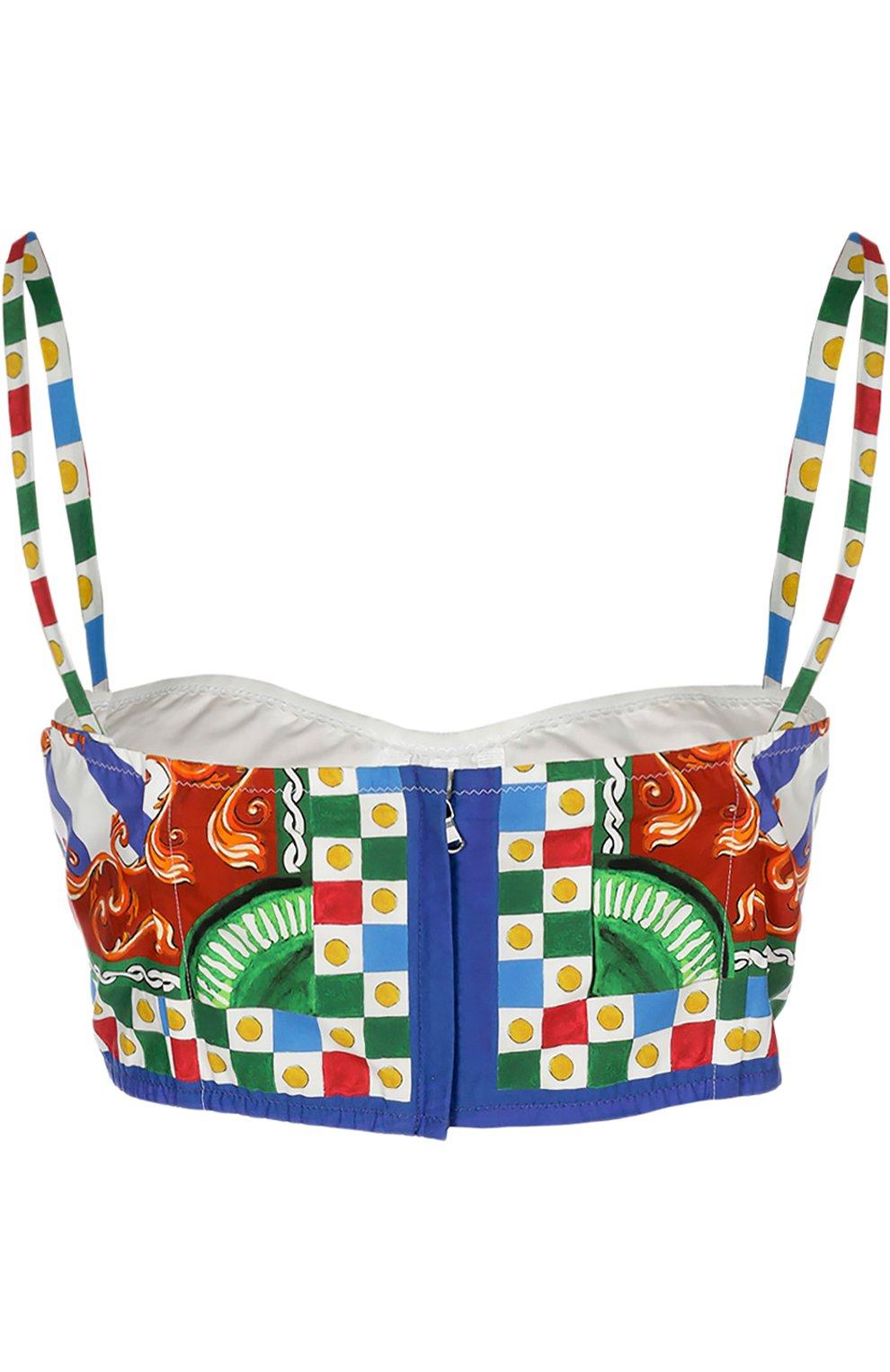 Топ-бюстье на бретельках и ярким принтом Dolce & Gabbana разноцветный | Фото №2