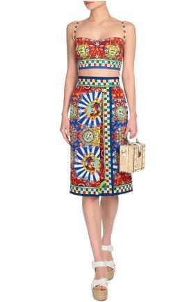Топ-бюстье на бретельках и ярким принтом Dolce & Gabbana разноцветный | Фото №4