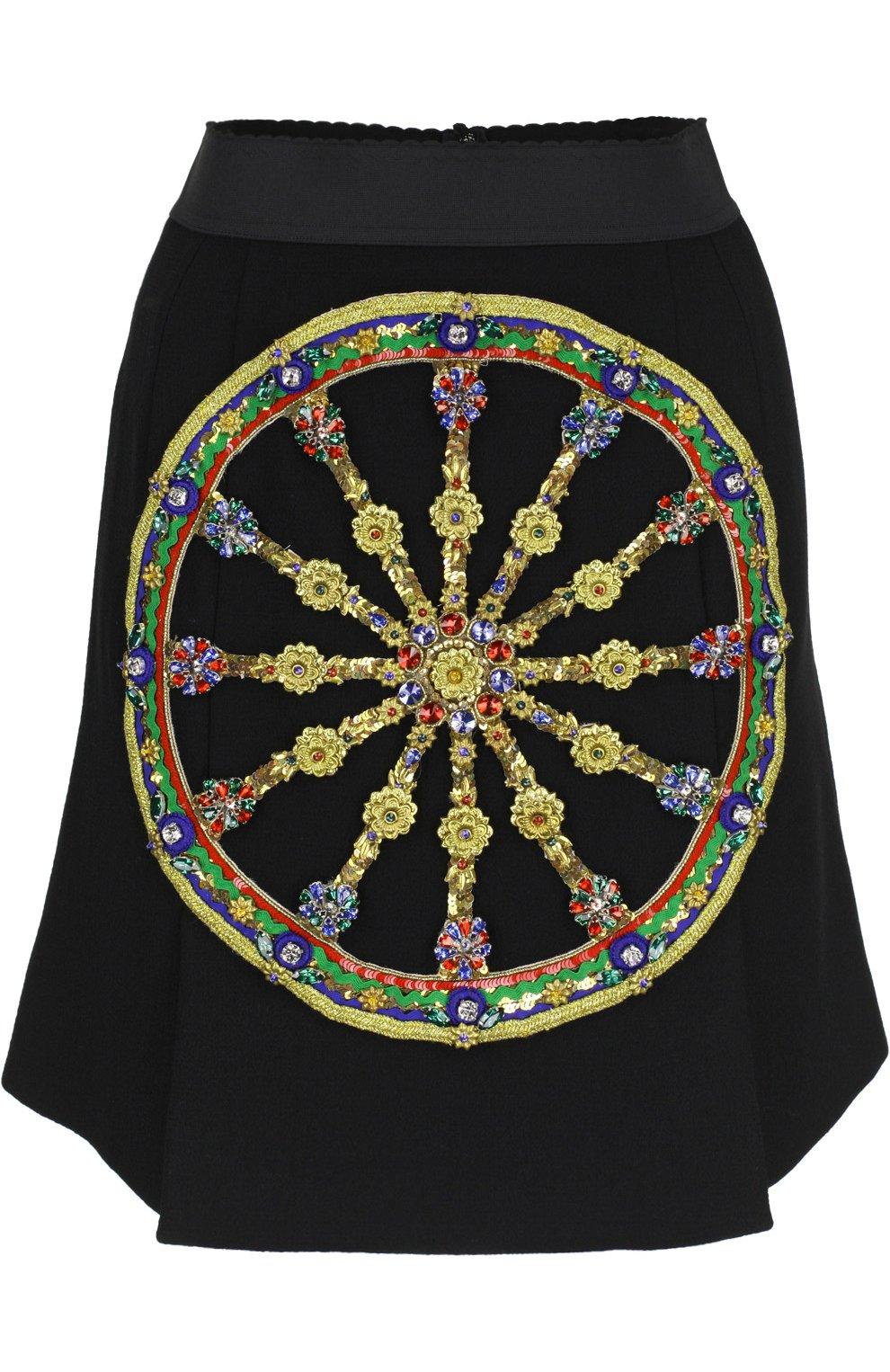 Мини-юбка А-силуэта с контрастной отделкой | Фото №1