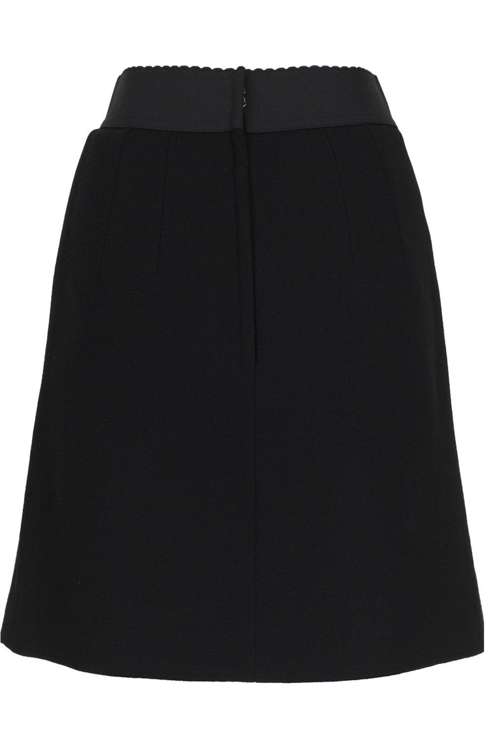 Мини-юбка А-силуэта с контрастной отделкой | Фото №2
