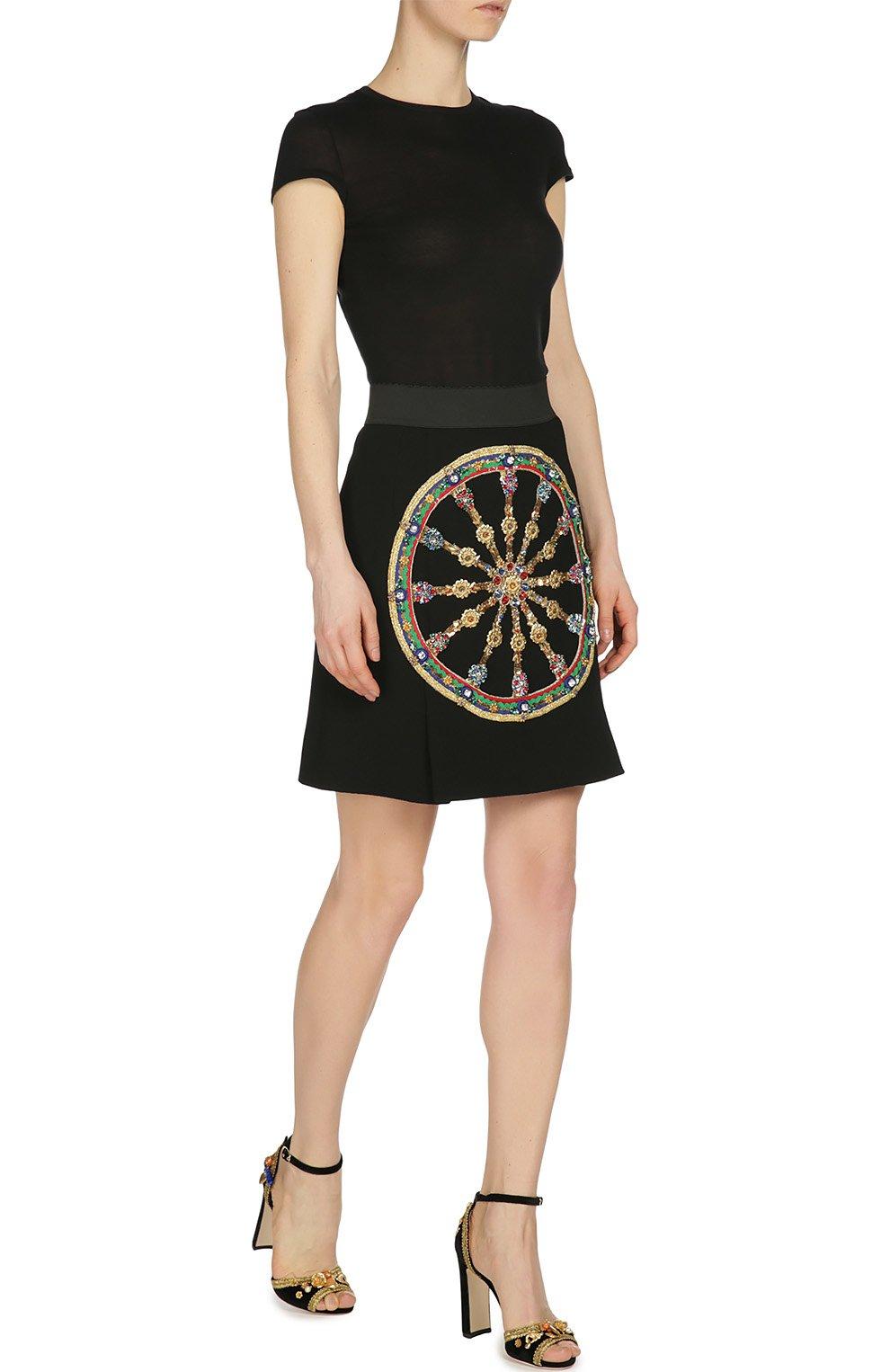 Мини-юбка А-силуэта с контрастной отделкой | Фото №4