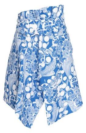 Асимметричная мини-юбка с контрастным принтом Carven синяя | Фото №1