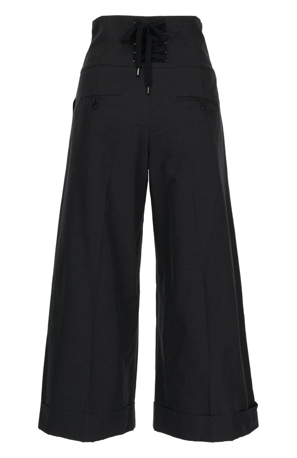 Укороченные брюки с завышенной талией на шнуровке REDVALENTINO черные | Фото №2