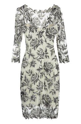 Приталенное кружевное платье с круглым вырезом Tadashi Shoji черно-белое | Фото №1